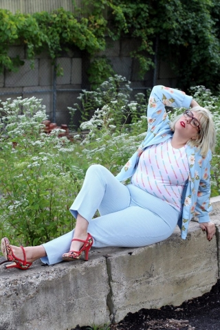 Plus size mixing new and vintage.