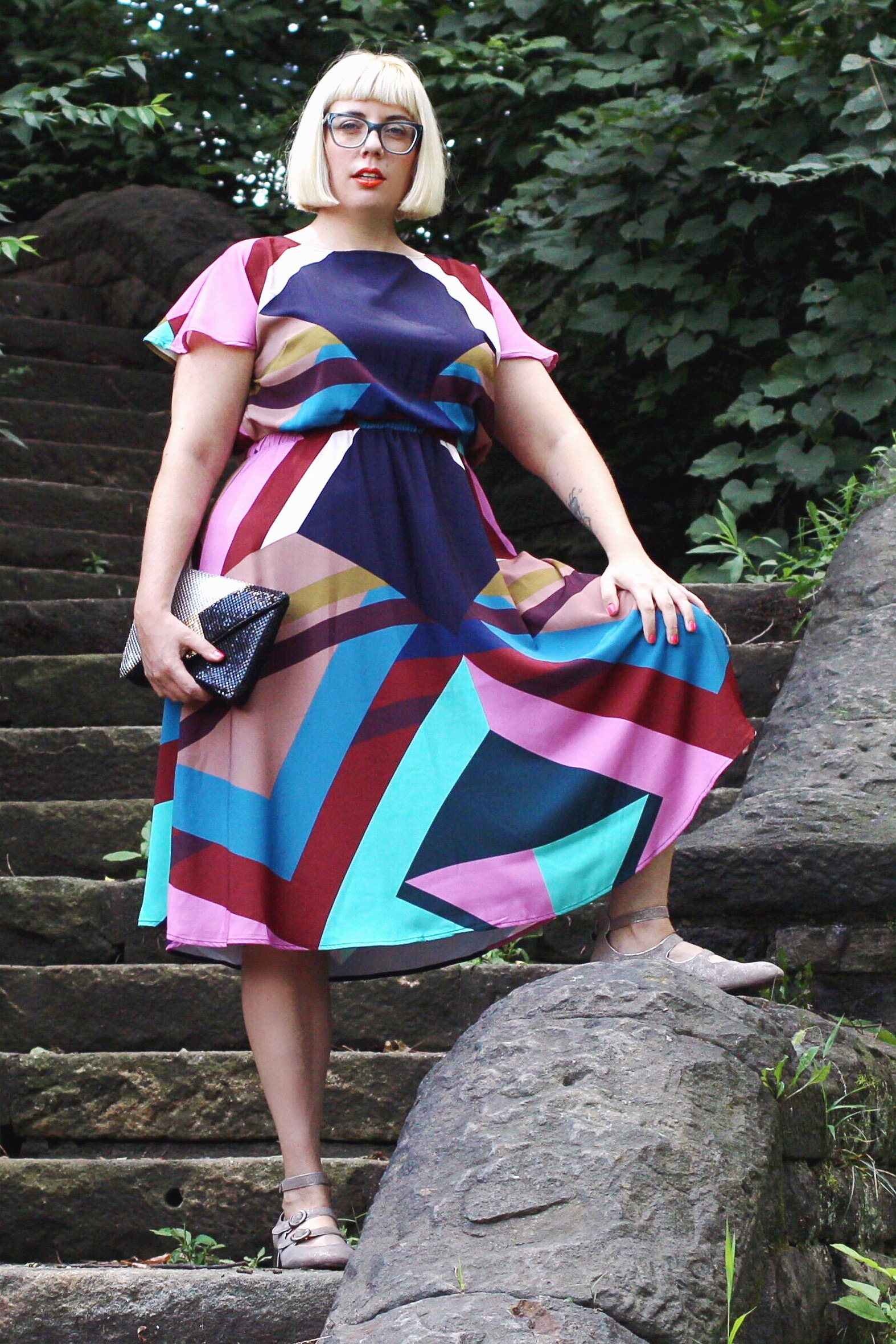 Plus Size geometric dress