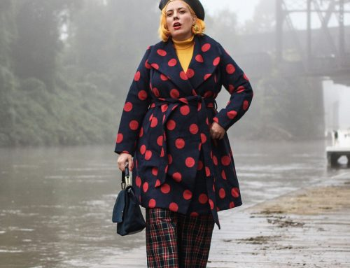 Plus Size Pattern Mixing Using Plaid & Polka Dots